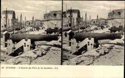 Stereo Ak Goulette Tunesien, L'entree du port, Kanone, Hafen, Levy & Fils 10