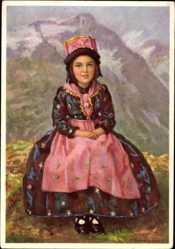 Künstler Ak Barrenscheen, H., Costumes Suisses, Valais, Mädchen in Tracht