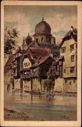 Künstler Ak Wiegk, Nürnberg in Mittelfranken Bayern, Insel Schütt, Synagoge