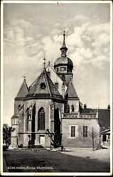 Postcard Böblingen, Blick auf die evangelische Stadtkirche, Fenster, Turm, Vorplatz