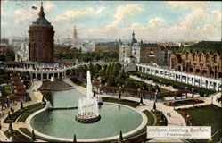 Postcard Mannheim, Jubiläumsausstellung 1907, Friedrichsplatz, Wasserturm