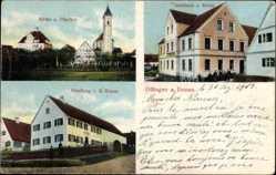 Postcard Offingen Donau, Kirche und Pfarrhof, Gasthaus z. Krone, Handlung Braun
