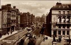 Postcard Dublin Irland, View of Westmoreland Street, cablecar, monument