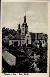 Postcard Ensheim Saarbrücken, Blick zur katholischen Kirche