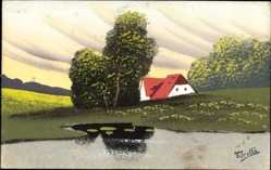 Handgemalt Ak Torelli, Haus am Wasser, Frühling, Blumenfeld