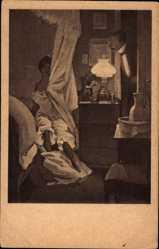 Künstler Ak Reznicek, Ferdinand von, Schlafzimmer, Unterwäsche, Liebespaar