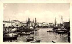 Postcard Split Kroatien, Luka, Hafenpartie, Boote, Palmen, Häuser