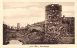 Postcard Zons Dormagen Niederrhein, Partie am Krötschenturm, Wehranlagen