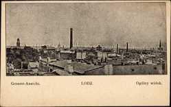 Postcard Lodz Lodsch Polen, Totalansicht der Ortschaft, Ogolny widok