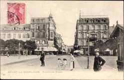 Postcard Saarlouis im Saarland, Partie an der Französischen Straße, Kinderwagen