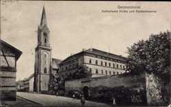 Ak Germersheim in der Rheinebene Rheinland Pfalz, katholische Kirche, Kaserne
