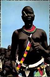 Ak Fort Archambault Tchad, Danseuse Sara, Afrikanische Tänzerin, Barbusig