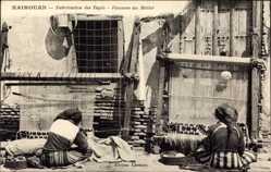 Postcard Kairouan Tunesien, Fabrication des Tapis, Femmes au Métier