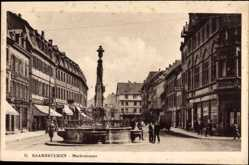Postcard Saarbrücken im Saarland, Blick in die Marktstraße, Brunnen, Passanten