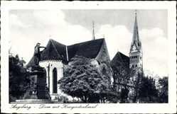Postcard Augsburg in Schwaben, Blick auf dden Dom mit Kriegerdenkmal, Statue