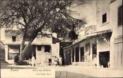 Postcard Tunis Tunesien, Place des Selliers, Blick auf einen Platz, Araber