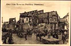 Ak Szczytno Ortelsburg Ostpreußen, Leben in den Ruinen der Stadt