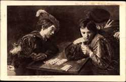 Künstler Ak Carravaggio, Der Falschspieler, Kartenspieler