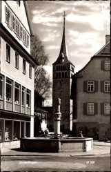 Postcard Sindelfingen Kreis Böblingen, Brunnen, Geschäft, Glockenturm