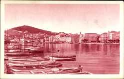Postcard Split Kroatien, Obala, Blick auf den Ort, Fischerboote, Häuser