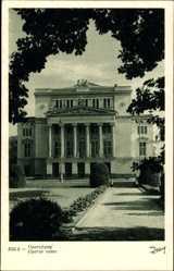 Postcard Riga Lettland, Parkpartie mit Blick auf das Opernhaus, Fassade