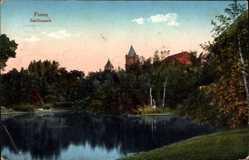 Ak Poznań Posen, Partie im Schillerpark, Teich, Türme, Vegetation