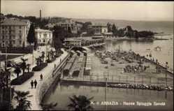 Postcard Opatija Abbazia Kroatien, Nuova Spiaggia Savoia, Strand