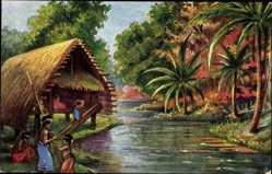 Künstler Ak Neumecklenburg Papua Neuguinea, Landschaft, Eingeborene, Palmen