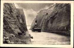 Postcard Korinth Griechenland, Canal de Korinthe, Dampfschiff im Kanal, Felsen