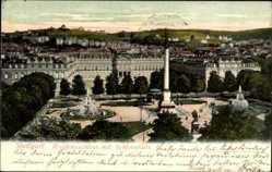 Postcard Stuttgart in Baden Württemberg, Residenzschloss mit Schlossplatz