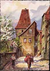 Künstler Ak Freytag, C., Kronach im Frankenwald Bayern, Am Storchenturm