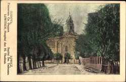 Postcard Lowicz Lowitsch Polen, Hospital des Hl. Thadeus, Straßenpartie
