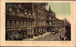 Postcard Lodz Lodsch Polen, Straßenpartie, Straßenbahn, Passanten, Petrikauerstraße