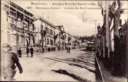 Postcard Saloniki Griechenland, Avenue du Roi Constantin, Straßenpartie, Soldaten