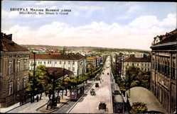 Postcard Belgrad Serbien, Rue Miloch le Grand, Straße Milosch des Großen