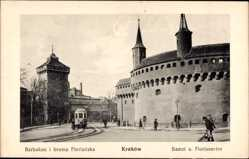 Postcard Kraków Krakau Polen, Barbakan, Brama Florianska, Bastei, Florianertor