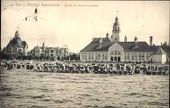 Ak Świnoujście Swinemünde Pommern, Strand mit Konversationshaus