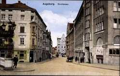 Postcard Augsburg in Schwaben, Grottenau, Straßenpartie, Deutsches Haus