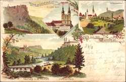 Litho Lichtenfels, Staffelberg, Schloss Banz, Wohlauf die Luft geht frisch