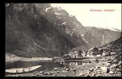 Postcard Gudvangen Sognefjord Norwegen, Naerofjord, Siedlung am See