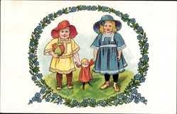 Künstler Ak Voigt, Elisabeth, Zwei Kinder mit Puppe und Spielball