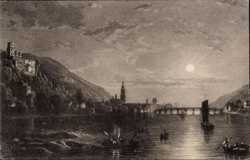 Stadt bei Mondschein