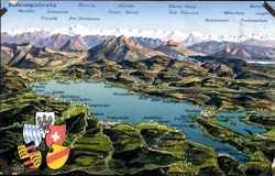 Landkarten Ak, Bodensee, Wappen